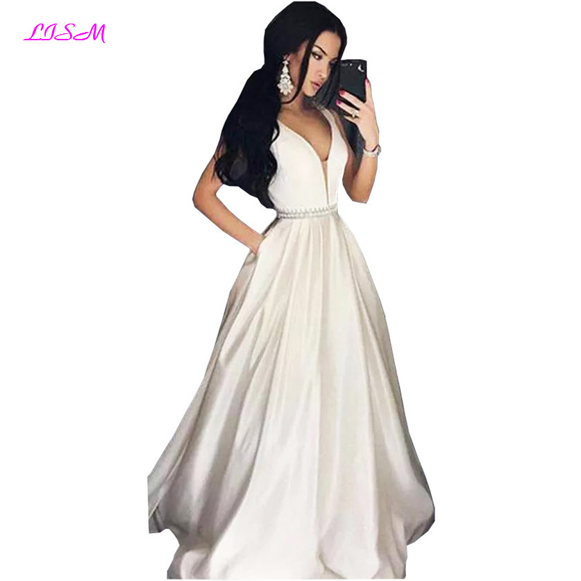 New Arrival Sexy V-Neck Party   Prom     Dresses   Vestido de Festa A-Line Empire Long   Prom   Gowns 2019 Women Evening   Dress   with Pockets