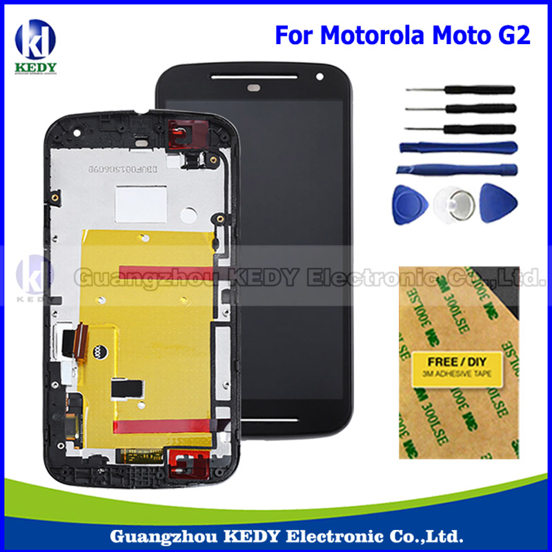 Original LCD Display Touch Screen Digitizer with Frame Assembly For Motorola MOTO G2 XT1063 XT1064 XT1068 XT1069 LCD + Tools new original lcd replacements for motorola moto g xt1032 xt1033 lcd display touch digitizer screen with frame assembly tools