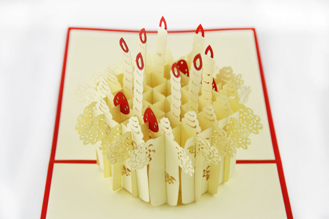 15CM15CM 3D Birthday Invitation Cards Pop Up Strawberry Cake Lace Cut Post Card Vintage Paper For Kids
