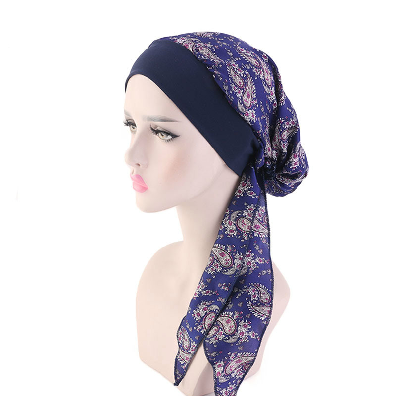 New Silk Imitation Women Turban Hat Elastic Hairband Headscarf Hat Fashion Muslim Turban Hijab Hats Indian Cap Wrap Cap 12 Color