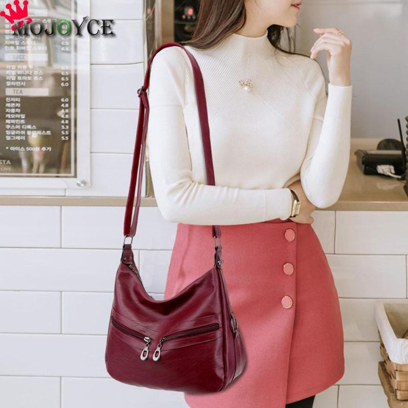 MOJOYCE Vintage Female Bag Women Hobos Handbags Zipper Soft PU Leather Shoulder Crossbody Bag Office Ladies Bag Solid Color Tote 6