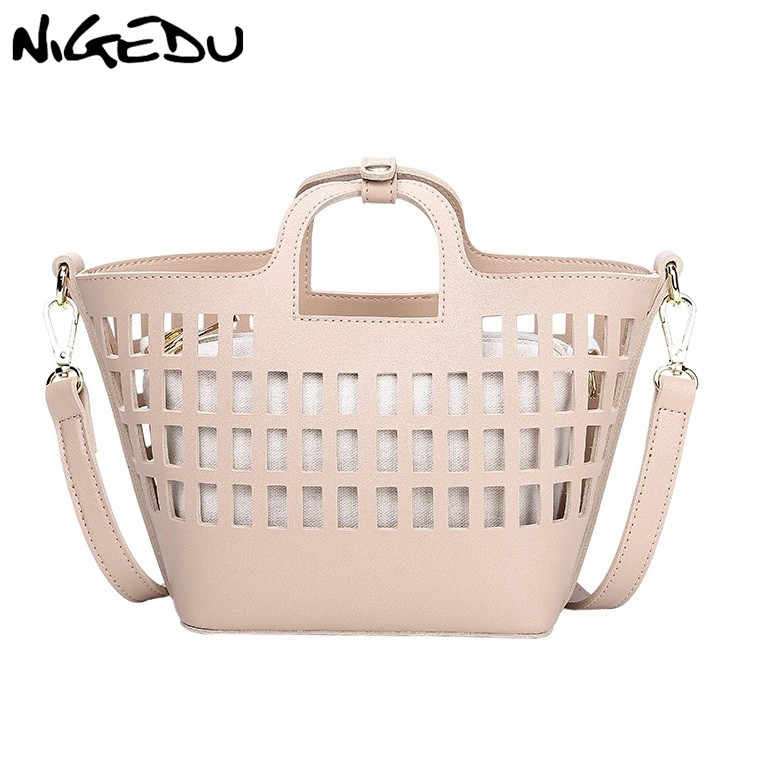 NIGEDU Summer women hollow out Handbags PU Leather Shoulder Crossbody Bag for female Totes small  Design Beach Bag 2pcs/Set pink