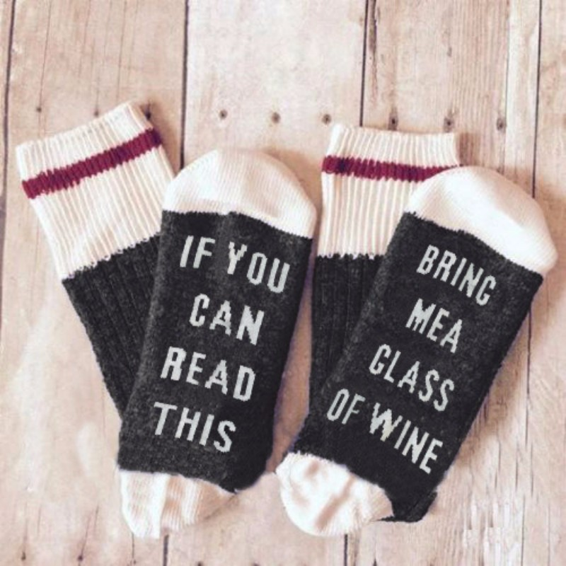 Casual Funny Letter Socks if you can see it bring me a glass of wine Letter Print Men Women Happy Socks Gift Drop Ship Available
