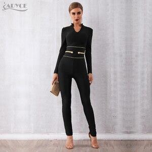 Image 3 - Женский клубный комбинезон ADYCE, черный облегающий комбинезон с длинным рукавом и V образным вырезом для подиума, для зима, 2019