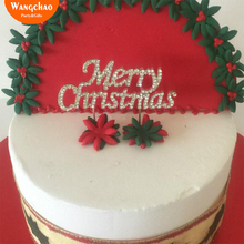 Merry Christmas Cake Topper Silver Xmas Decoration  Party Decorating New Arrival High Quality Alloy Crystal