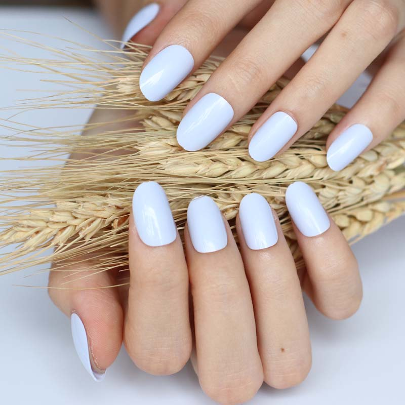 24pcs False nails Candy color nail plate tips Acrylic ...