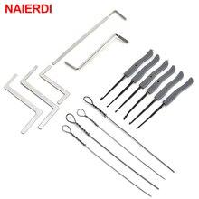 NAIERDI 15 шт. набор замков, набор для извлечения сломанного ключа, слесарные принадлежности, ручной инструмент для удаления ключей, крючки для удаления, мебельная фурнитура