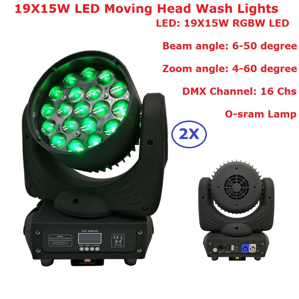 2Pcs/Lot Carton Package 19X15W LED Moving Head Disko Projector Zoom RGBW 4IN1 LED DMX DJ Beam Wash Stage Effect Party Lights
