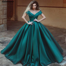 Green Off the Shoulder Ball Gown Mother of the Bride