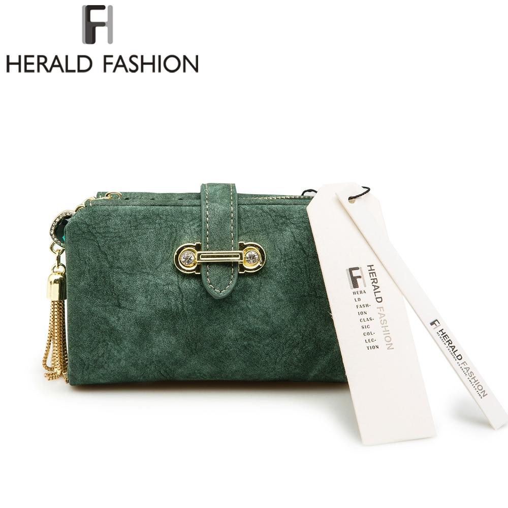 Herald Fashion Nubuck Leather Women Wallets Female Zipper Small Wallet Women Short Coin Purse Holders Retro Wallet and Purses 1