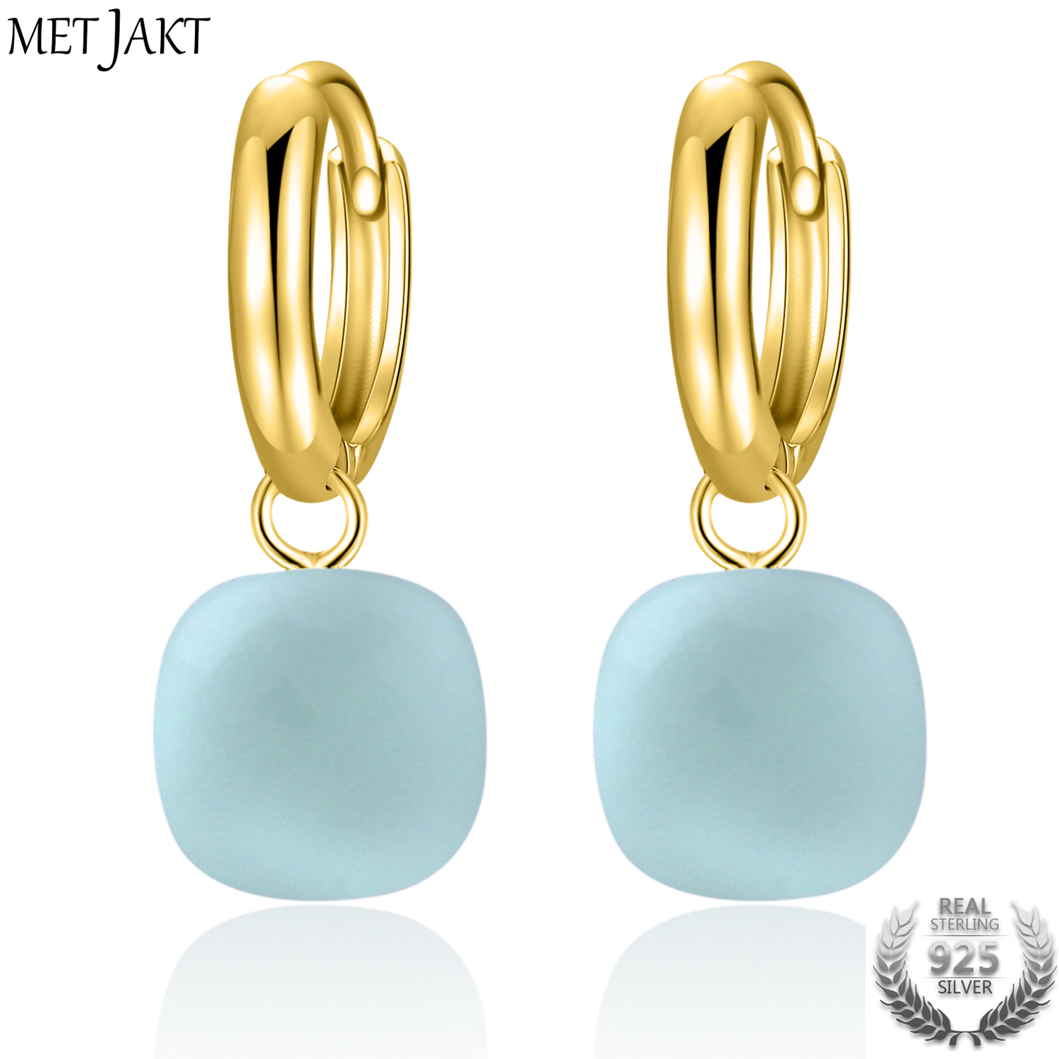 MetJakt Classic Natural Sky Blue Agate Earrings Solid Gold Color 925 Sterling Silver Wedding Earring for Women Luxury Jewelry цена и фото