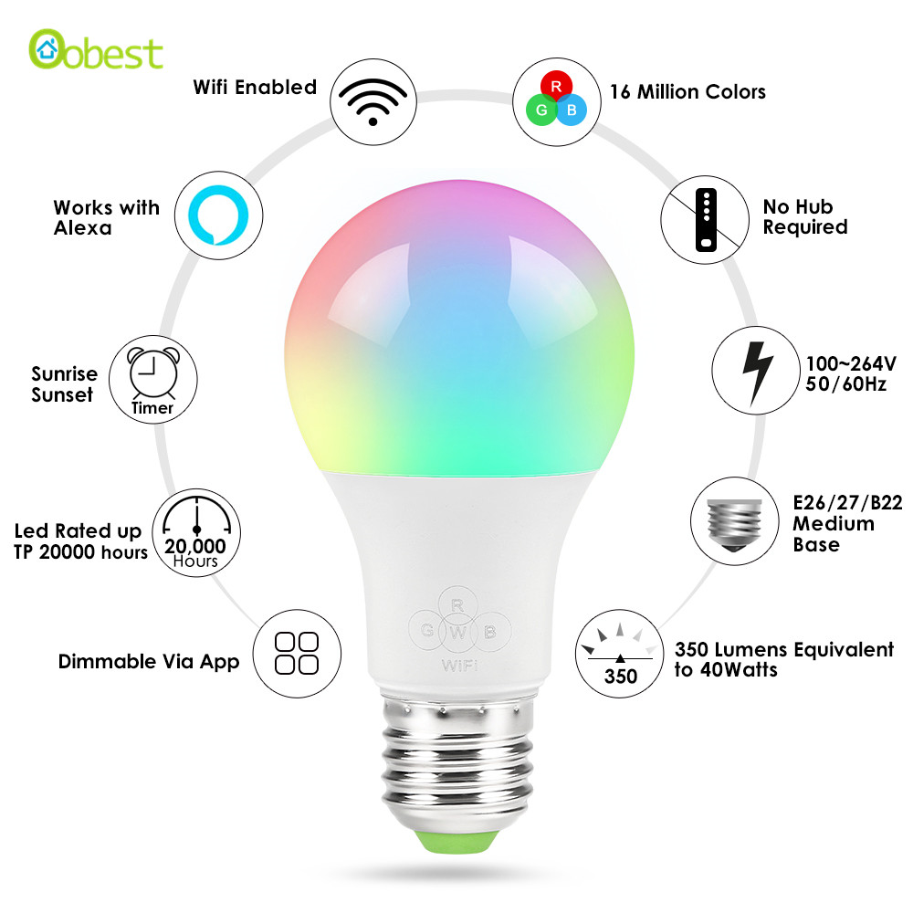 E27 Wifi Smart Light Bulb Dimmable Wake Up Lights For