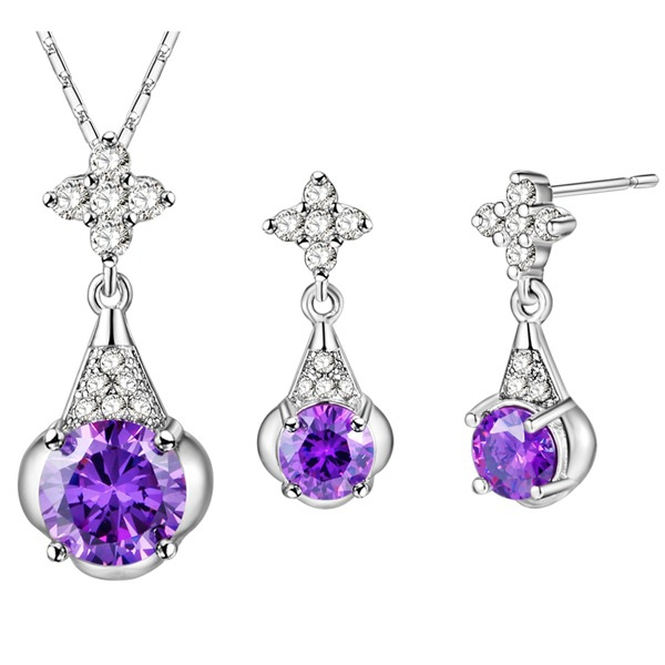 Rhodium plated set 925 Sterling Silver Earrings Necklace NEW crystal water drop outlet