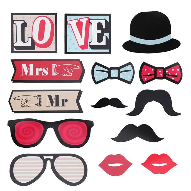14 Pcs Photo Booth Props Wedding Set Love Mr And Mrs Diy Fun Favor