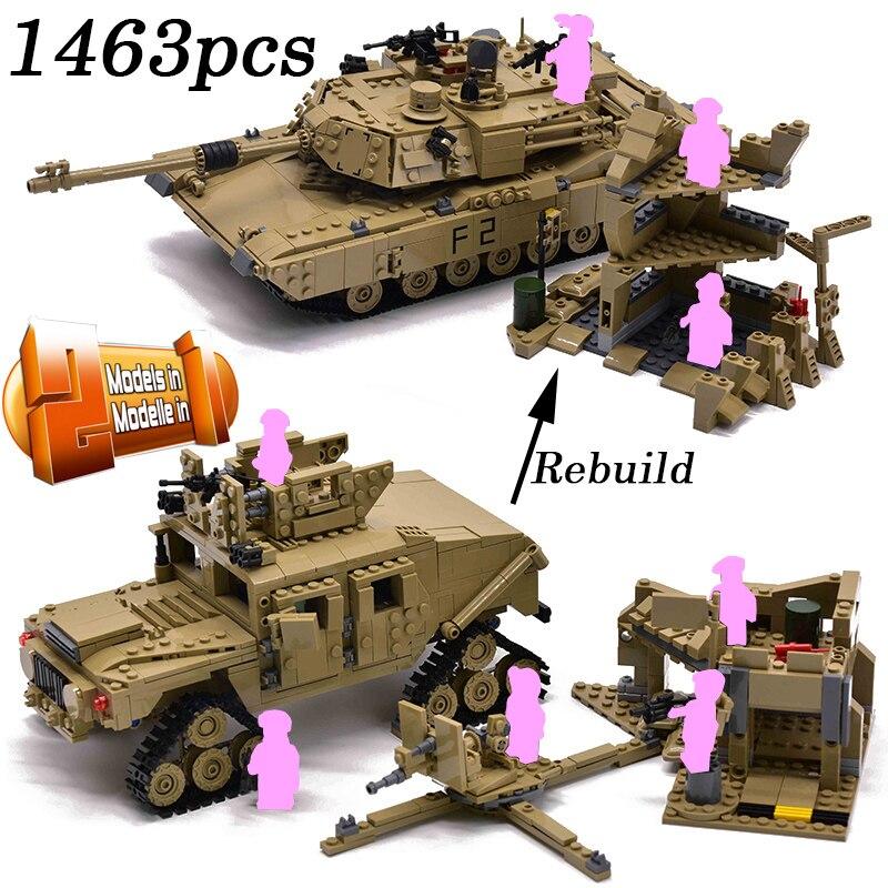 1463pcs Militare M1A2 Serbatoio Mattoni Abrams Serbatoio di Battaglia Principale Edificio Mini Figure Blocco Set di Modelli 2in1 Giocattoli Compatibile-in Blocchi da Giocattoli e hobby su  Gruppo 1
