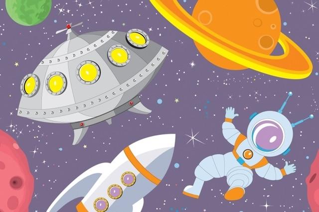 Mural Cartoon UFO Wall 3D Wallpaper For Children