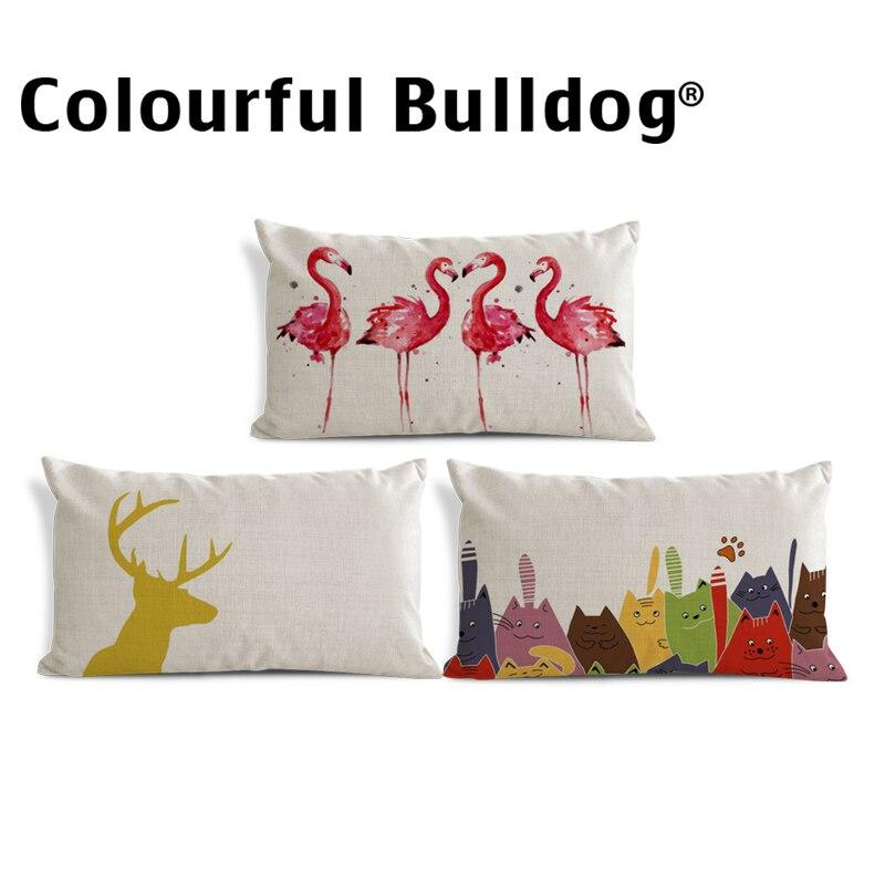 Animal Geometry Cushion Cover Pillow Case Cartoon Cat Pillow Decorator Greek Key Throw Pillow Case 30X50cm Linen Blend Pastel