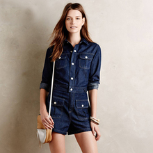 Women's Motorcycle Style Vintage Fashion Long Sleeve Jumpsuit Denim Jeans Rompers