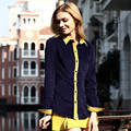 Veri Gude Primavera e No Outono Mulheres Camisa de Veludo Estilo Britânico Cor Contraste Frente