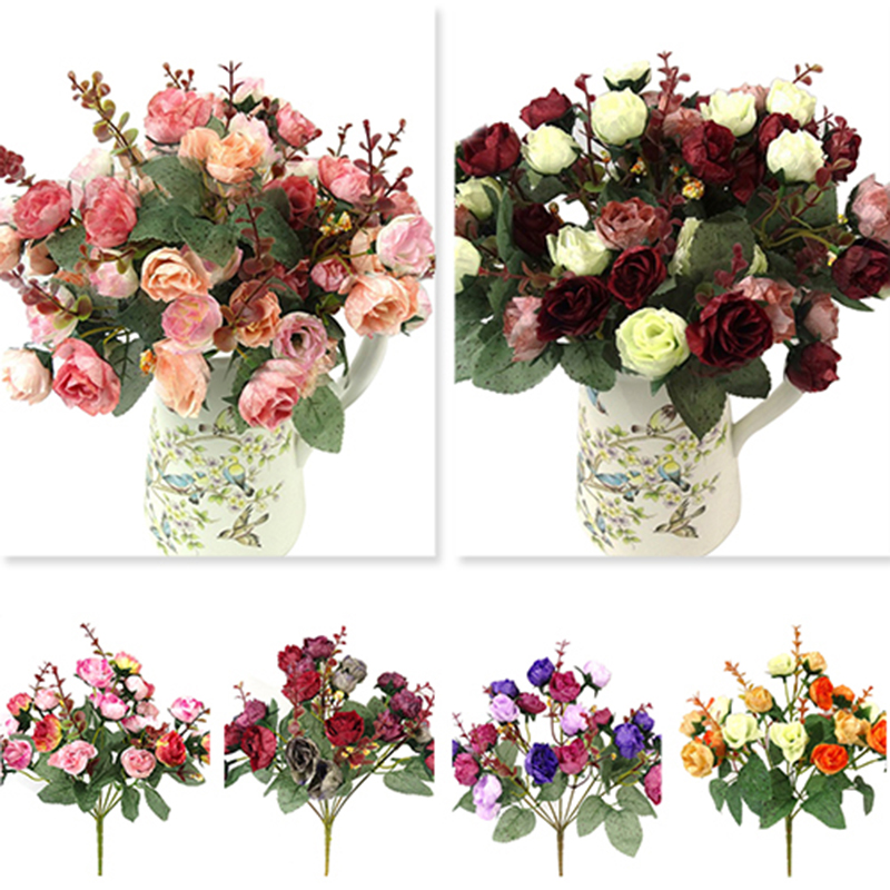 1 bouquet 21 head artificial rose rose colorful silk Artificial flower decoration for home
