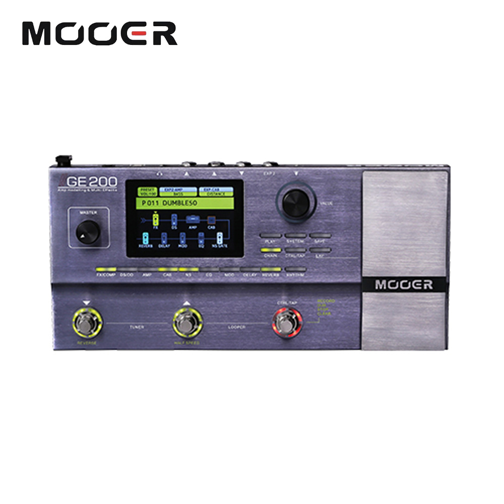 Mooer GE200 Amp modelling Multi Effect Processor Pedal With 26 IR Speaker Cab Model 52 Second Looper 55 Amplifier Models wavelets processor