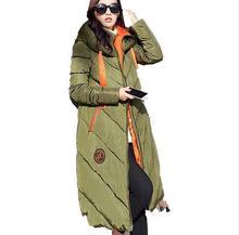Women Winter Coat Long sleeve Splice Hooded Long Jacket Thick Warm Cotton Down jacket Loose Leisure