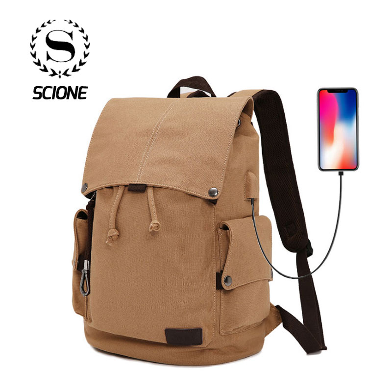 Scione Canvas USB Charging Backpack Men Travel Laptop Drawstring Bagpack Women Student Classic School Outdoor Shoulder Bags