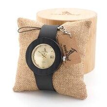 BOBO PÁJARO Retro Para Mujer Relojes de Oro con Cuero Negro Correas De Madera Calendario Ladies Wristwatch
