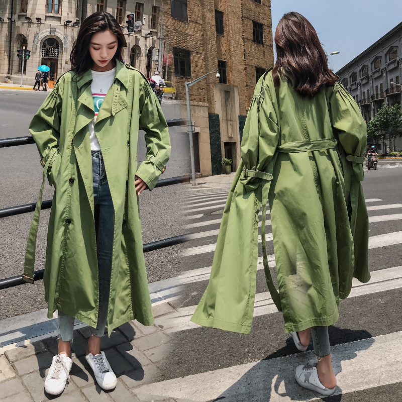 Green   trench   coat women double breasted maxi coat women casual spring autumn loose duster coat Lady's cape Elegant overcoat