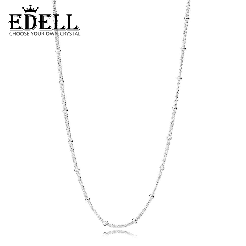 EDELL 100% 925 Sterling Silver New 2019 Spring 397210 Basic Beaded Necklace Chain Fit DIY Pendant Clavicle Chain JewelryEDELL 100% 925 Sterling Silver New 2019 Spring 397210 Basic Beaded Necklace Chain Fit DIY Pendant Clavicle Chain Jewelry