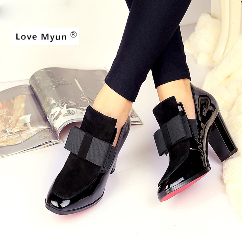 New 100%  Red Bottom sole high heels pumps square toe genuine leather shoes women ladies black Sexy chaussure femme176