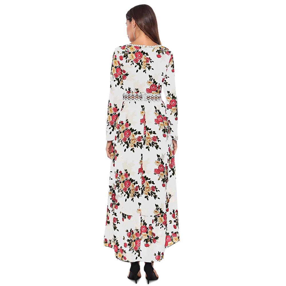 Nuovo Floreale bianco Stampa Partito Scollo Manica Vestito Modo Di Maxi 2018 Pizzo Elegante Il Impiombato Delle Nero Plunge Lunga Donne Del A Asimmetrico MUqpSzGLV