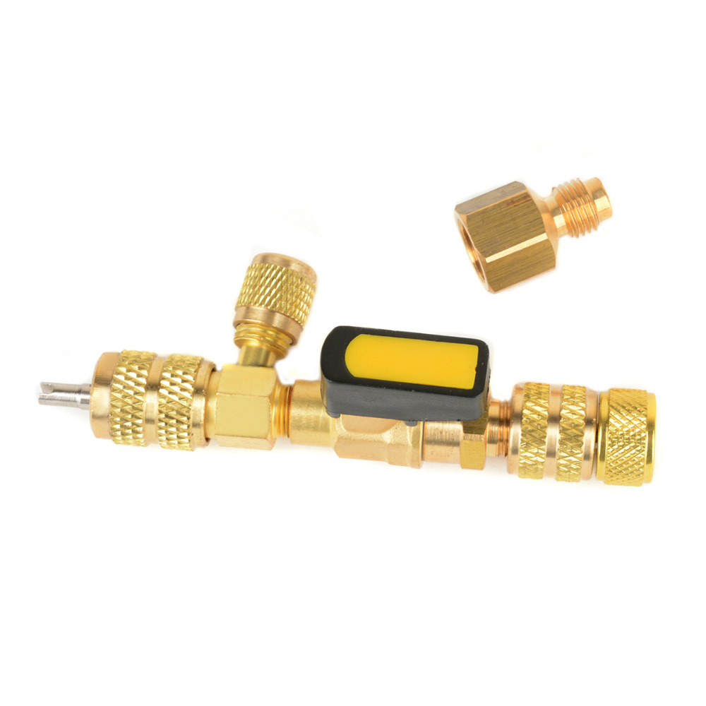 1 Set New 1/4 5/16 Ports Valve Core Remover Installer Tool Mayitr for Air Conditioning R22 R410A R404A R407C With Ball Valve hs 1221 hs 1222 r410a refrigeration charging adapter refrigerant retention control valve air conditioning charging valve