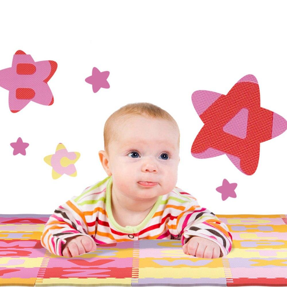 Tapis de jeu de bébé de modèle d'alphabet avec les tuiles de plancher de mousse de barrière tapis rampant pour le bébé enfant développant le tapis pour le tapis de jeu d'enfants - 2