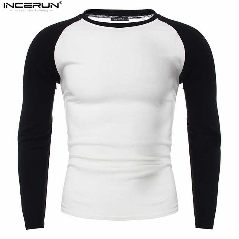 メンズパッチワーク長袖 Tシャツカジュアルスリムフィット O ネック黒、白 Tシャツ古典的なファッション 2019 秋のファッションの男性トップス