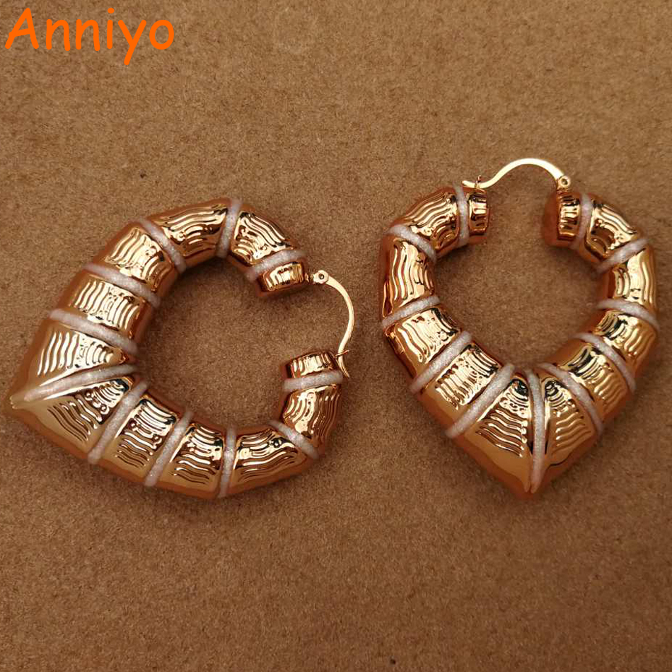 Anniyo Nigerian Traditional BIG HEART Enamel Earrings for Mama/Dada Jewelry Rose Gold African Ethiopian Bride Gift New #056604