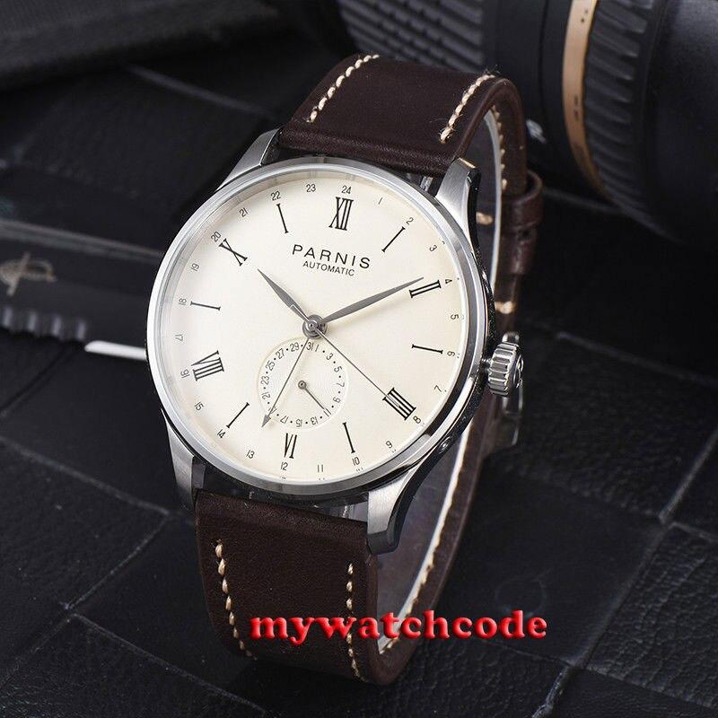 Gift 42mm Parnis beige wijzerplaat 24 Uur Handset ST1690 Automatisch Uurwerk Mannen Kijken-in Sporthorloges van Horloges op  Groep 2