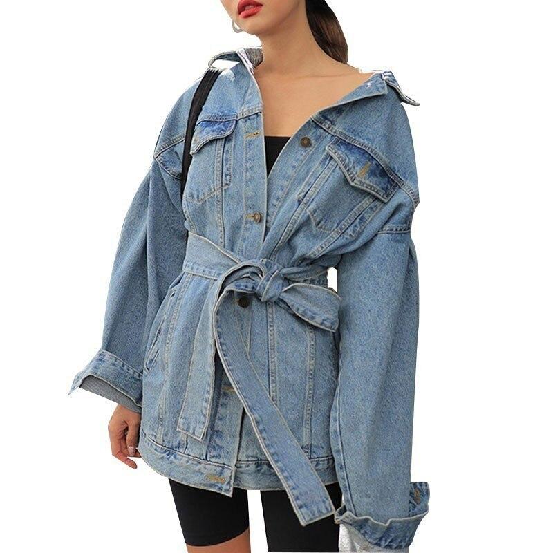 Automne Denim vestes femmes revers manches longues taille haute à lacets Bandage femme veste mode Vintage Streetwear Outwear NZY18