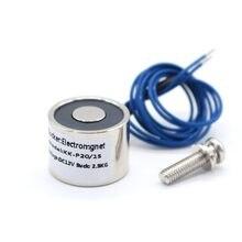 Eletromagnético 20/15 sucção 2.5kg 25n mini solenóide eletroímã 12 v eletroímã 12 volts pequeno eletroímã 24v bobina 6 ímã elétrico v