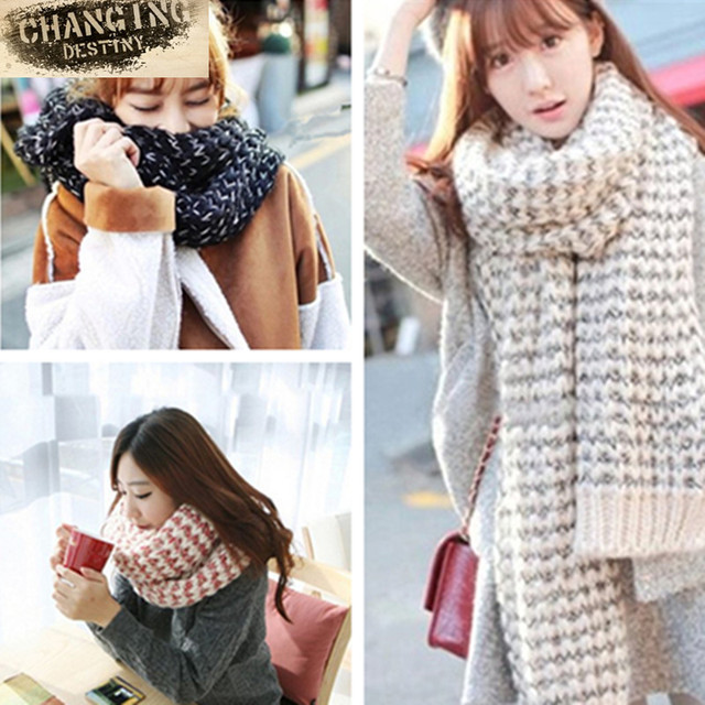 44dd735d 190*35 Cm Thickening Women's Scarves Variegated Mohair Knit Warm Wool  Female Scarf Students Couple