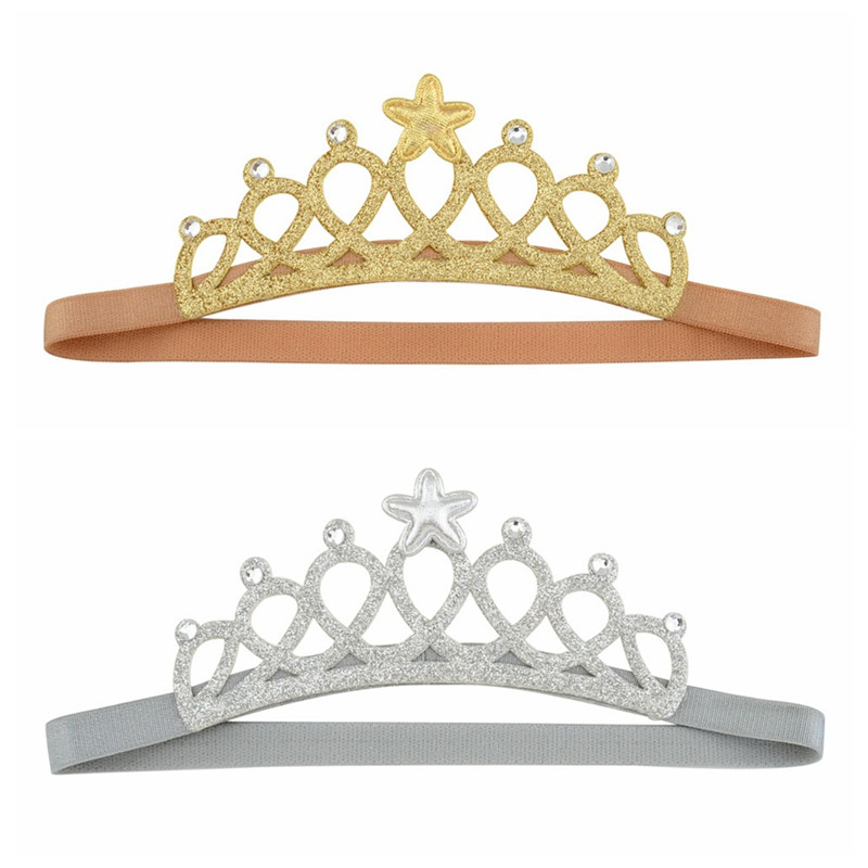 MIXIU 1pcs Baby Kids Hairband Gold/Sliver Crown Kids Gifts Baby Shower Birthday Party Supplies Hair Band Hair Accessories