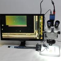 Непрерывное увеличение визуальное бинокулярного 3.5X 90X Тринокулярный Стерео микроскоп + 1080 P микроскоп Камера HDMI выходы VGA + светодиодный огн