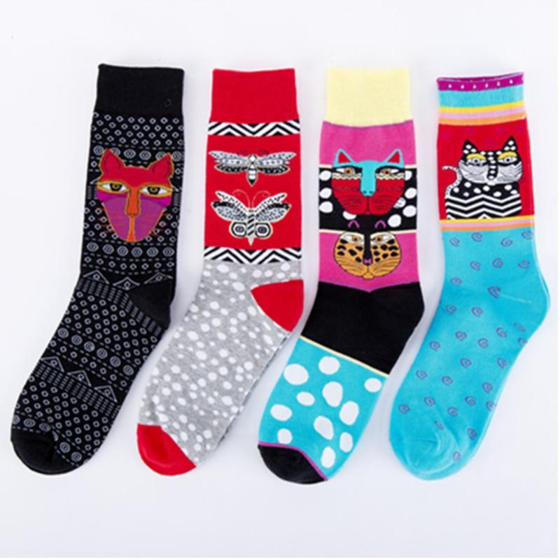 New Cartoon Kitty Butterfly Pattern Colorful Men Casual Sock Personality Fashion Harajuku Ventilation Cotton Socks Autumn Winter