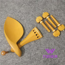 2 sets 4/4 violin boxwood fittings parts accessories England tailpiece chinrest endpin 4 pegs fittings