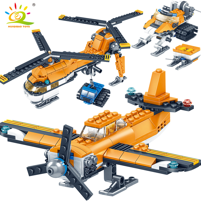 348+pcs Military Transport Helicopter Building Blocks Compatible city AirPlane DIY brick Educational Toys for children
