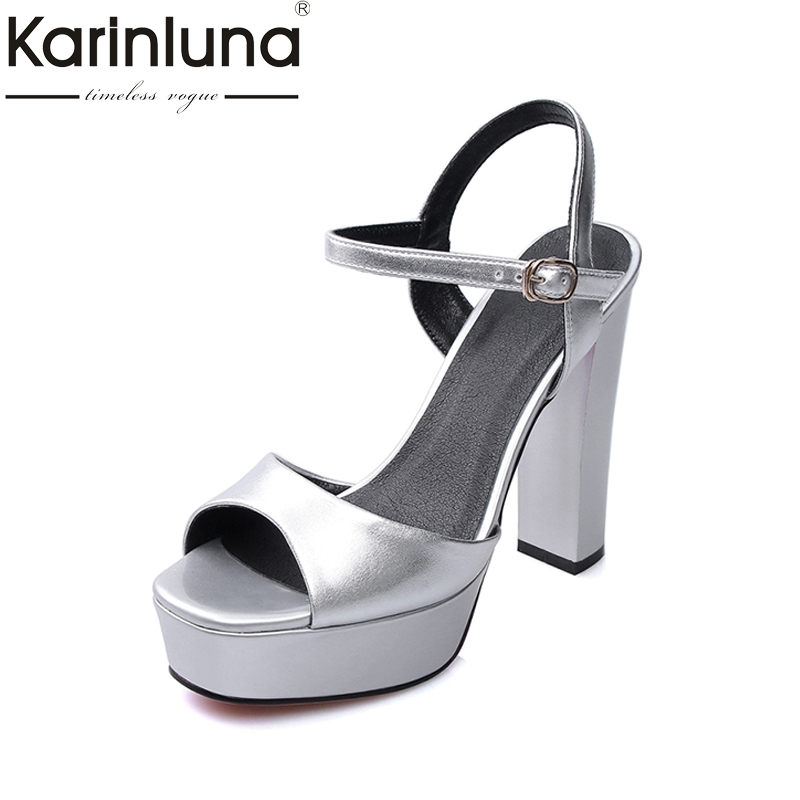 KARINLUNA 2017 Square High Heel Thick Platform Summer Shoes Woman Ankle Strap Open Toe Cutout Buckle Sandals choudory 2017 summer high heel sandal open toe glitter embellished thick heels woman shoes high quality suede ankle strap shoes