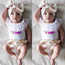Summer 3pcs Baby Girl Lace Tops T-shirt+Floral Short Pant Bottoms Outfits Set Clothes Hot Sale