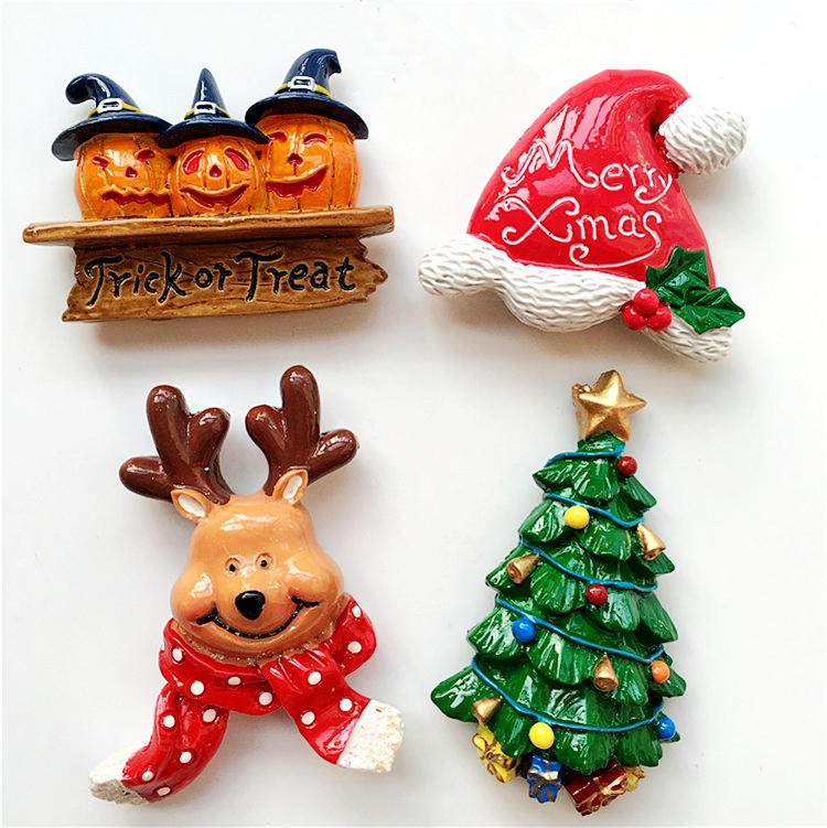 High Quality Christmas Bear Scarf Deer 3D Fridge Magnets Tourist Souvenirs Refrigerator Magnetic Stickers Home Decortion