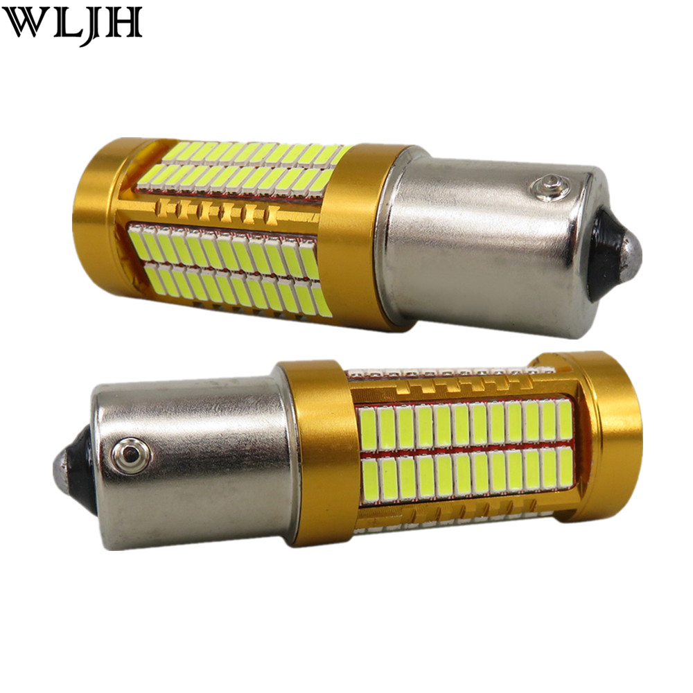 WLJH 2x Canbus Led 20W 1156 BA15S P21W S25 Bulb 4014SMD Car Lamp DRL Daytime Running Light for Volkswagen VW T5 T6 TRANSPORTER wljh 2x canbus led 20w 1156 ba15s p21w s25 bulb 4014smd car lamp drl daytime running light for volkswagen vw t5 t6 transporter