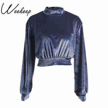 Weekeep Women Velvet Cropped Sweatshirt Solid Long Sleeve Hoodies Crop Top Hoodies Sweatshirt women Sweatshirts & Women Hoodies
